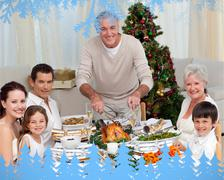 Composite image of grandfather cutting turkey for christmas dinner Stock Illustration