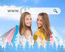 Stock Illustration of Smiling girls with their shopping bags under address bar