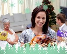 Woman showing christmas turkey for family dinner - stock illustration