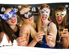 Attractive friends with masks on holding champagne glasses - stock illustration