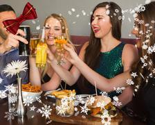Composite image of friends having dinner together Stock Illustration