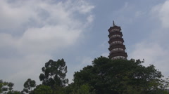 Beautiful Temple Six Banyan Trees traditional icon Flower Pagoda Guangzhou day Stock Footage
