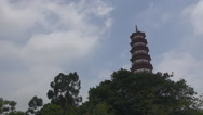 Stock Video Footage of Beautiful Temple Six Banyan Trees traditional icon Flower Pagoda Guangzhou day