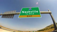 4k driving on highway/interstate,  exit sign of the city of nashville, tennes Stock Footage