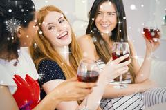 Cheerful female friends with wine glasses enjoying a conversation - stock illustration