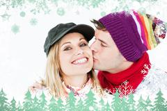 Beautiful woman receiving a kiss from her boyfriend wearing both cap and hat - stock illustration