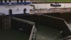 Panama city, ship, boat, canal doors, gates closing - stock footage