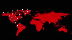 Growth population died on the red map Stock Footage