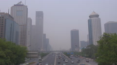 Aerial view traffic car highway financial district Beijing city smog air day fog Stock Footage