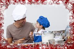Stock Illustration of Smiling father and son eating homemade cookies