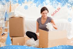 Stock Illustration of Gorgeous woman packing her property
