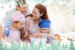 Stock Illustration of Composite image of happy family enjoys baking together