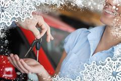 Stock Illustration of Composite image of smiling woman receiving keys from somebody