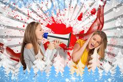 Stock Illustration of Girl shouting at another through a megaphone as she is covering her ears