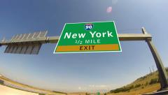 4k driving on highway/interstate,  exit sign of the city of new york, new yor Stock Footage