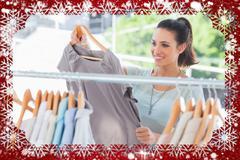 Composite image of fashion woman choosing dress Stock Illustration