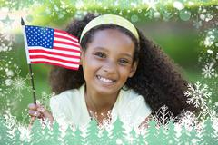 Young girl celebrating independence day in the park Piirros