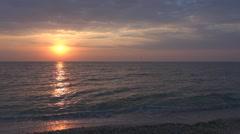 Beautiful sunset sea wave romantic sun ocean water tropical island summer day  - stock footage