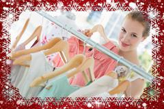 Happy female customer selecting clothes in store - stock illustration