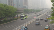 Stock Video Footage of Aerial view busy highway business district Beijing day heavy smog air pollution