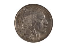 first year of original united states indian head nickel on white - stock photo