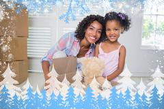 Cute daughter unpacking her teddy bear with mother - stock illustration
