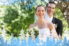Newly wed couple with flower bouquet in park Stock Illustration