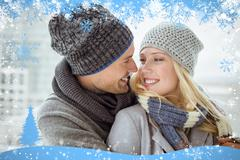 Stock Illustration of Cute couple in warm clothing smiling at each other