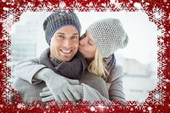 Cute couple in warm clothing hugging man smiling at camera - stock illustration