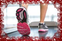 womans feet running on the treadmill  against snow - stock illustration