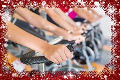 Spin class working out in a row against snow Stock Illustration