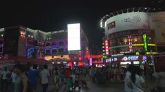 Tourist people enjoy holiday shopping street city square Guangzhou night busy  Stock Footage