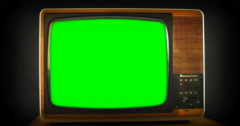 Green screen on 1970s anologue TV 4K Stock Footage