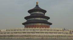 Closeup Temple of Heaven religious complex Beijing exterior facade foggy day fog Stock Footage