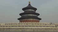 Stock Video Footage of Closeup Temple of Heaven religious complex Beijing exterior facade foggy day fog
