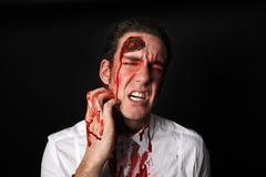 Psychopath with bloody scars Stock Photos