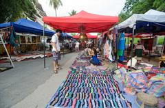 luang prabang laos - august 10 :luang prabang night market - august 10  ,2014 - stock photo