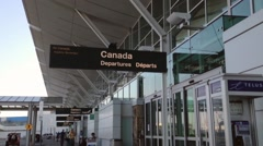 soft focus of air canada departures entrance - stock footage
