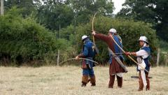 Shrewsbury Levy archers target shooting practice Stock Footage