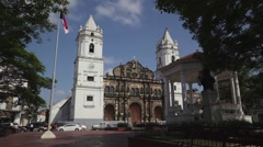 Panama City, old quarter, Casco Viejo, cathedral, church Stock Footage