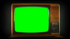 Zoom into green screen 1970s TV set 1920X1080 Stock Footage