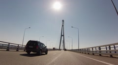 Bridge in russian flag colors. From Vladivostok to Rusky Island. Stock Footage
