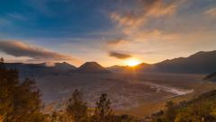 Sunset Time Lapse at Mount Batok at Bromo Tengger Semeru National Park Stock Footage