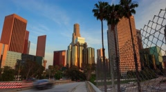 Walk towards downtown city Los Angeles. 4K UHD Timelapse in motion (hyperlapse). Arkistovideo