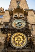 Astronomical clock on old town hall in Prague - stock photo