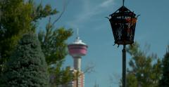 Calgary tower with rack focus from gas lamp, 4K Stock Footage