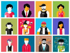 Set of stylish avatars of man and woman icons Piirros