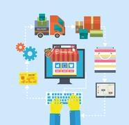 Internet shopping process of purchasing and delivery Piirros