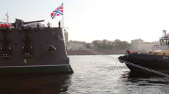 Warping hawser preparation for tugging cruiser Aurora for repair works Stock Footage