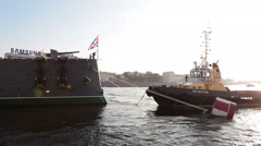 Towing hawser preparation for tugging cruiser Aurora for repair works Stock Footage